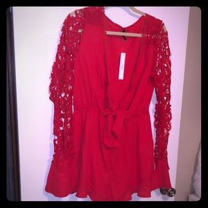 Red, lace sleeved, romper